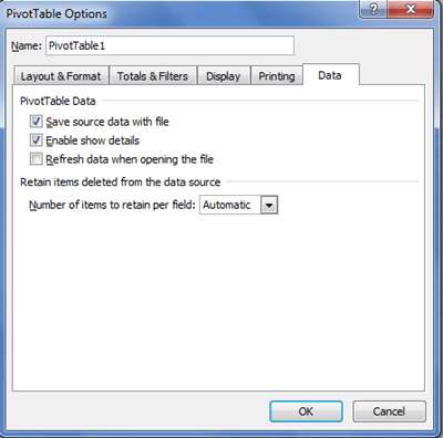 Excel PivotTable Options