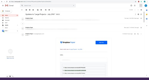 Gmail theme list of all numbers