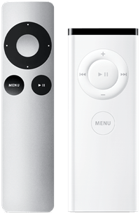 white and silver Apple remotes