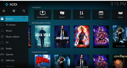 Kodi homescreen