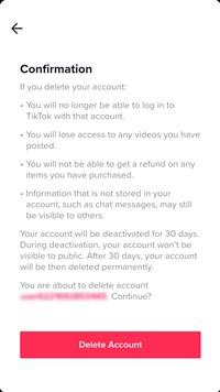 delete account confirmation