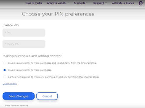 roku pin preferences