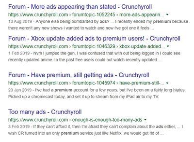 Google results crunchyroll
