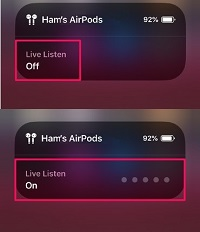 airpods live listen on and off