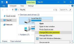 change bitlocker password
