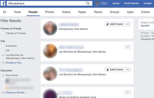 Finde Freunde in einer bestimmten Stadt auf Facebook