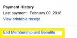 terminate membership and benefits