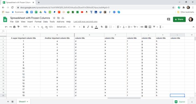 Unfreeze Columns in Google Sheets