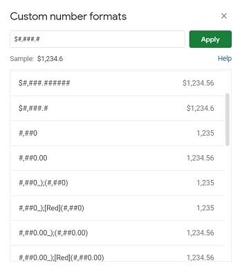 custom number formats