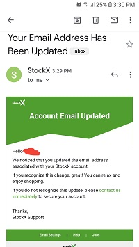 Email on StockX