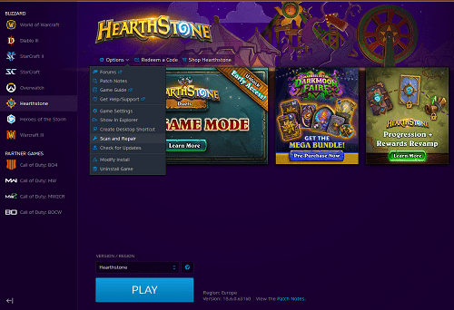 How to Force Download and Update Hearthstone