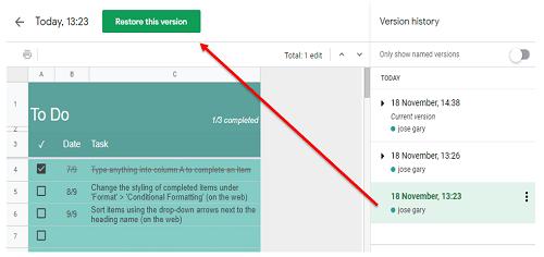Google Sheets Editing History