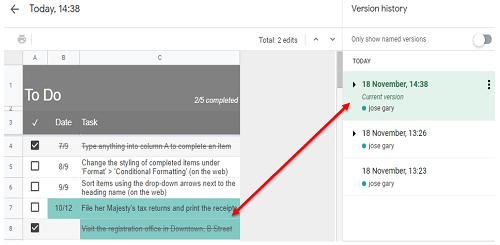 Google Sheets How to Check History