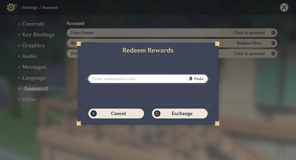 genshin impact codes - redeem rewards