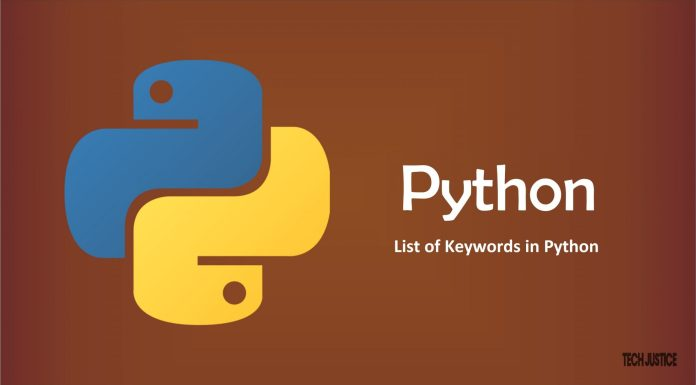 List of Keywords in Python Tech Justice