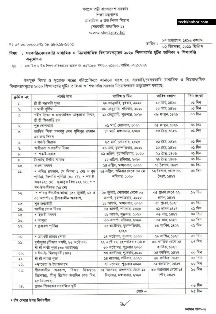২০২০-সালের-মাধ্যমিক-ও-নিম্ন-মাধ্যমিক-স্কুলের-ছুটির-তালিকা