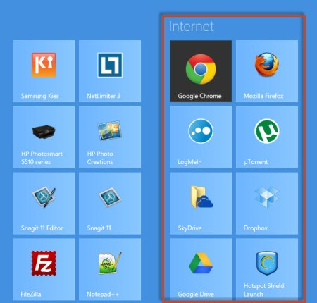 organize windows 8 tiles in groups - group named