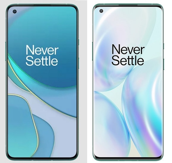 Leaked OnePlus 8T (left) versus the OnePlus 8 Pro (right)