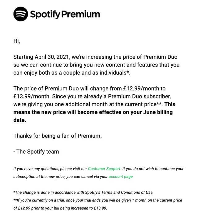 Spotify subscriptions