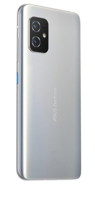 The ASUS ZenFone 8 in its Horizon Silver color