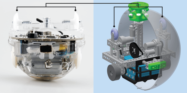 Comparison of the BB-8 droid (right) inspired from Sphero toy (right)
