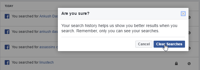 How to clear facebook search history steps to delete facebook facebook search history delete ccuart Gallery