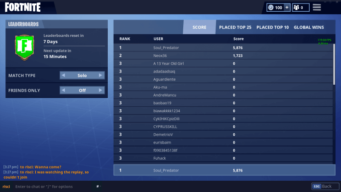 fortnite leaderboards