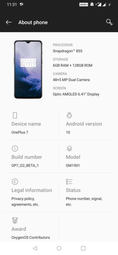 One Plus 7 Android 10