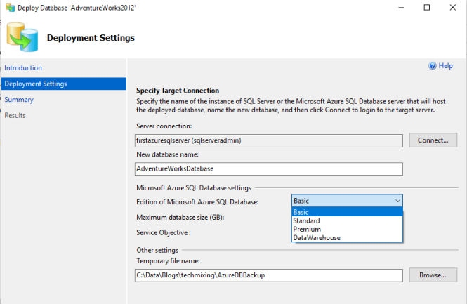 Choose New database Name & choose Service Tier for New database