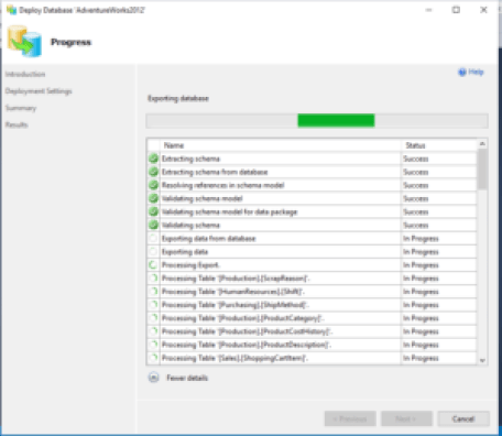 Deploying database on Azure Platform