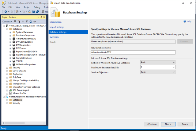 Change Azure SQL Database default settings