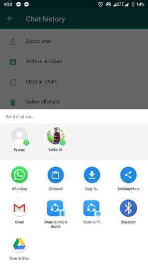chat history backup in whatsapp
