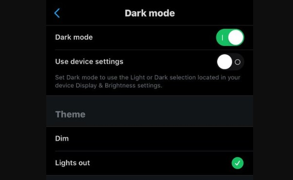 enable twitter Lights out mode