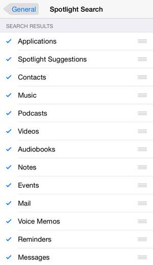 iOS 8 spotlight customizations