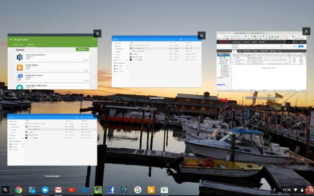 Chromebook running apps view