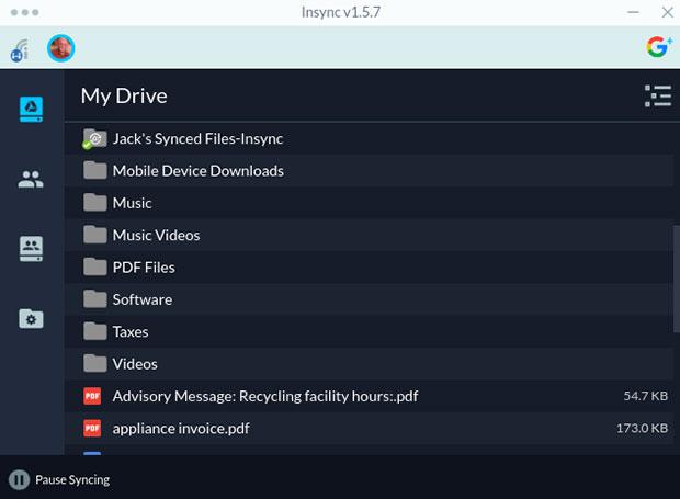 Conținutul Conținutului Insync Google Drive