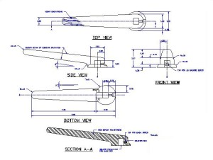 Plastic handle drawing in full scale