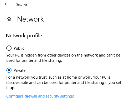 how to change network type windows 10