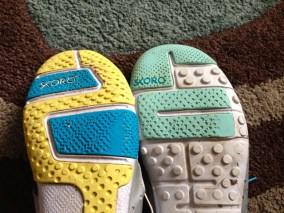 Wear is in the same area, but much less material has been removed from the Base's sole than the Core's.