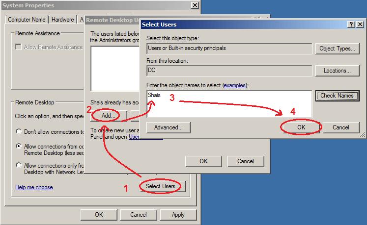 Add a user to remote desktop