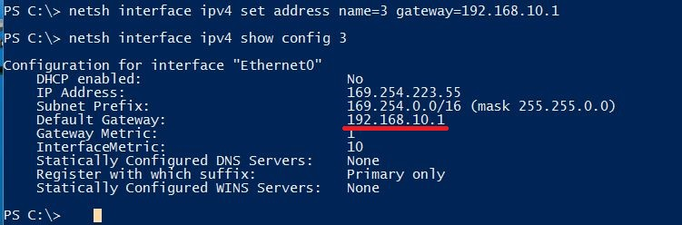Set default gateway
