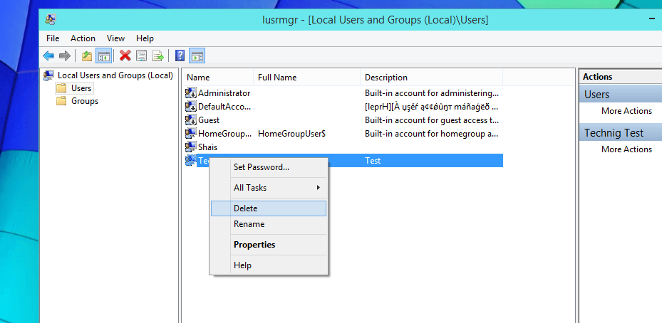 Delete User Account with Windows Local User and Group Manager