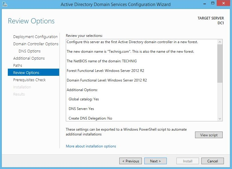 Active Directory Review Options