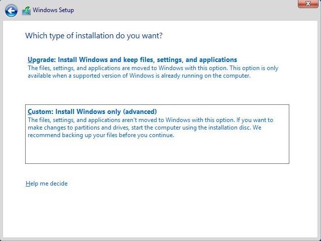 Custom Windows Install only