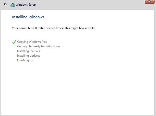 Start installing Windows