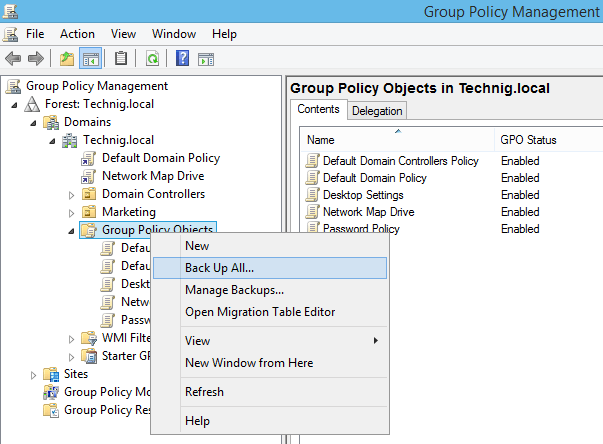 Backup all Group Policy Objects