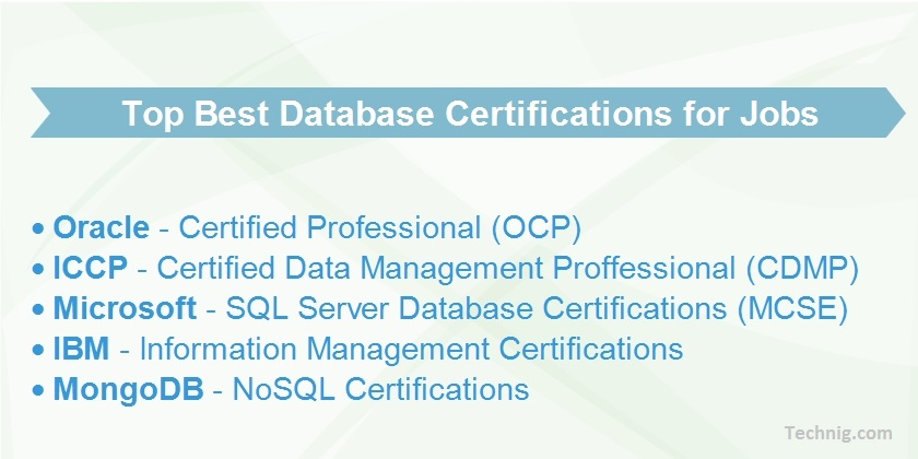 Top Best Database Certification for Database Jobs - Technig