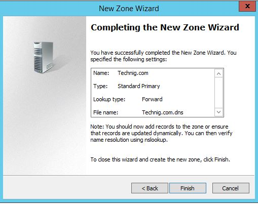Completing DNS Server Installation Wizard