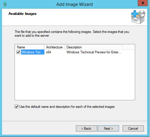 Windows Deployment Services Available Images