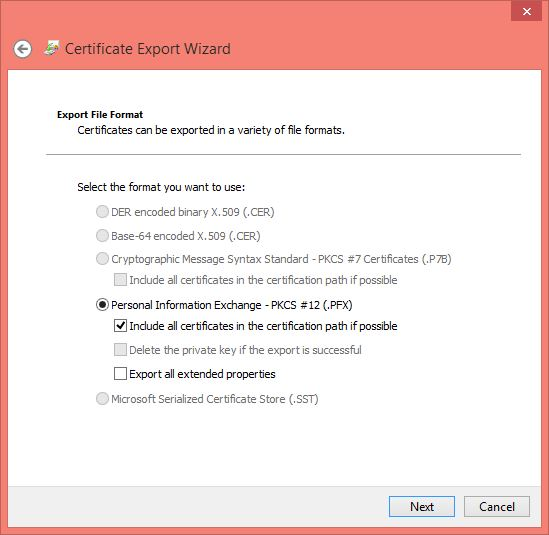 Windows 10 Encrypt Folder and Certification Export File Format